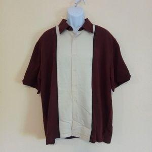 Men's Cubavera Burgundy & Beige Button Down Shirt